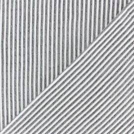 Tissu Seersucker chambray élasthanne rayé - rouge x 10cm