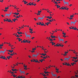 Satiny poplin Fabric - Red Norfolk x 10cm