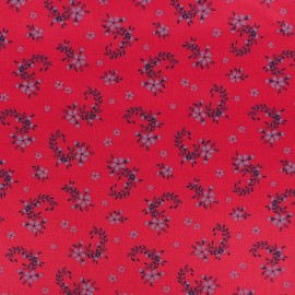 Satiny poplin Fabric - Red Balmoral x 10cm