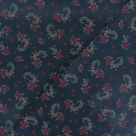 Satiny poplin Fabric - Navy blue Balmoral x 10cm