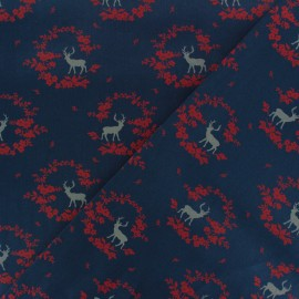 Satiny poplin Fabric -  Navy blue Norfolk x 10cm