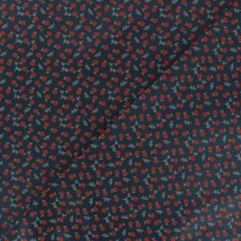 Satiny poplin Fabric -  Navy blue Norfolk x 10cm