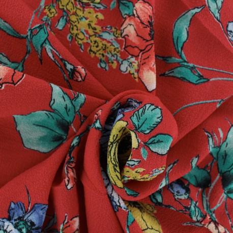 Tissu crêpe Vivianne - rouge x 10cm