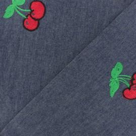 Tissu jeans fluide brodé fleur - bleu denim x 10cm