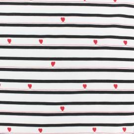 Striped JERSEY FABRIC - white Valentine x 10CM