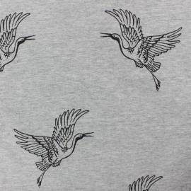 Tissu sweat léger Héron -gris chiné x 10cm