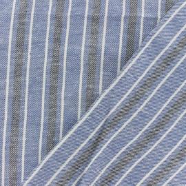Tissu coton lin sergé  Ariana - bleu x 10cm