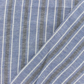 Twill Linen Cotton fabric - Blue Ariana x 10cm