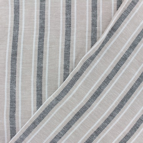 Tissu coton lin sergé  Ariana - beige x 10cm