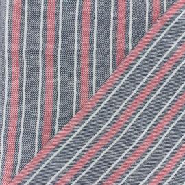 Tissu coton lin sergé  Ariana - rouge x 10cm