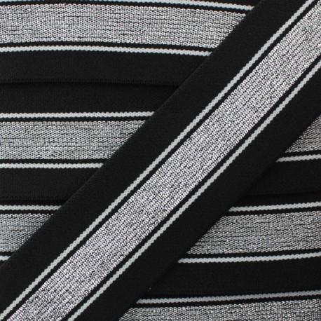 40 mm Belt Elastic Ribbon - Black/Silver Just Dance x 1m