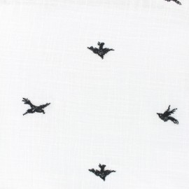 Tissu voile de coton Aspect lin Swallow - blanc x 10cm