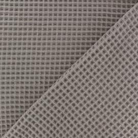 Waffle stitch cotton fabric - Taupe x 10cm