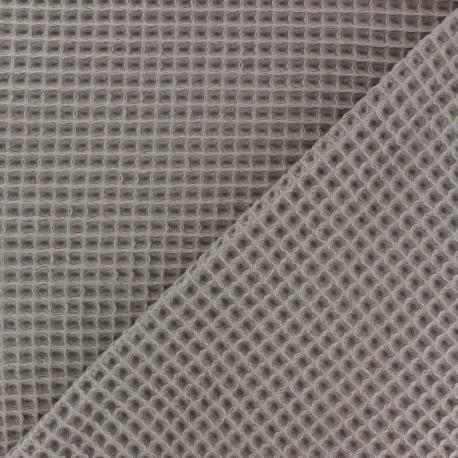 Tissu piqué de coton nid d'abeille - taupe x 10cm