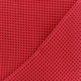 Tissu piqué de coton nid d'abeille - rouge x 10cm