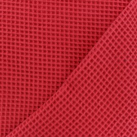 Waffle stitch cotton fabric - red x 10cm