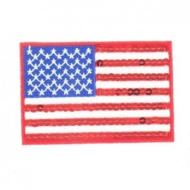 "Spangled ""United States of America"" Flag iron-on applique - multicolored"