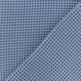 Tissu piqué de coton nid d'abeille - bleu houle x 10cm