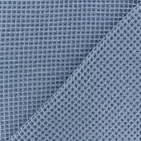 Waffle stitch cotton fabric - mint green x 10cm