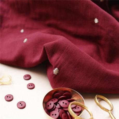 Tissu double gaze de coton Atelier Brunette - Stardust Amarante x 10cm