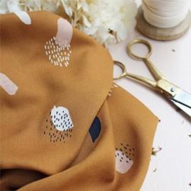 Viscose fabric Atelier brunette - Moonstone Ochre x 10cm