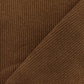 Tissu velours grosses côtes élasthanne - Marron x10cm