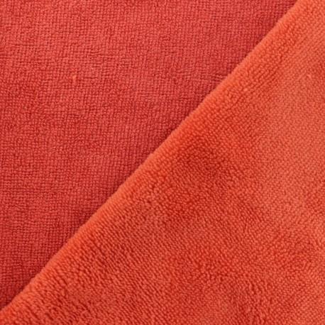 Tissu éponge Bambou - rouge x 10cm
