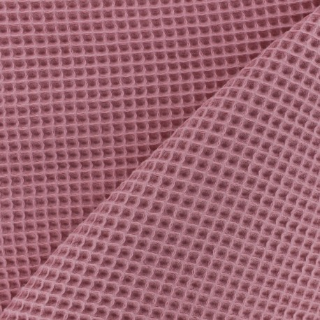 Waffle stitch cotton fabric - orchid pink x 10cm