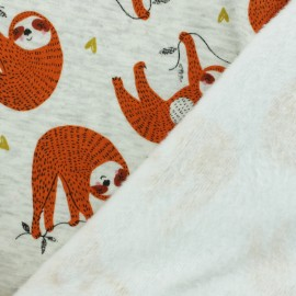 Sweatshirt fabric with minkee reverse - Orange Happy Sloth x 10cm