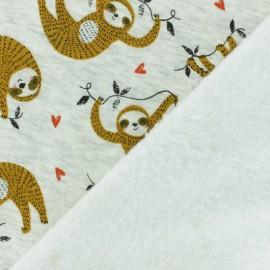 Tissu sweat envers minkee Heureux Paresseux - moutarde x 10cm