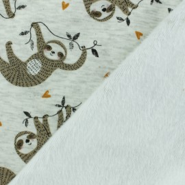 Sweatshirt fabric with minkee reverse - grey Happy Sloth x 10cm