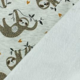 Tissu sweat envers minkee Heureux Paresseux - gris x 10cm