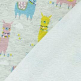 Sweatshirt fabric with minkee reverse - Pastel blue llama x 10cm