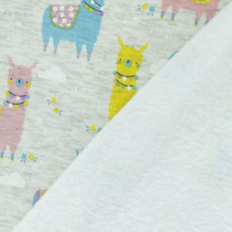 Tissu sweat envers minkee Lama - bleu pastel x 10cm