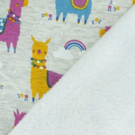 Sweatshirt fabric with minkee reverse - bright blue llama x 10cm