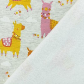 Sweatshirt fabric with minkee reverse - bright orange llama x 10cm