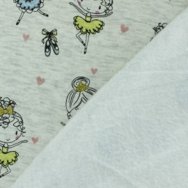 Tissu sweat envers minkee Petite Ballerine - bleu x 10cm