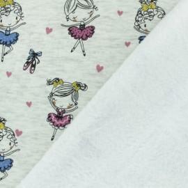 Tissu sweat envers minkee Petite Ballerine - rose x 10cm