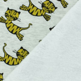 Sweatshirt fabric with minkee reverse - yellow Tiger x 10cm
