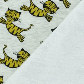 Tissu sweat envers minkee Tigre - jaune x 10cm