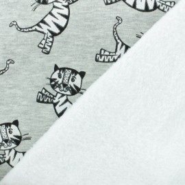 Tissu sweat envers minkee Tigre - blanc x 10cm