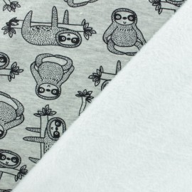 Sweatshirt fabric with minkee - Grey Quentin the sloth x 10cm