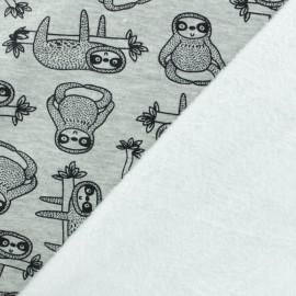 Tissu sweat envers minkee Quentin Le Paresseux - gris x 10cm