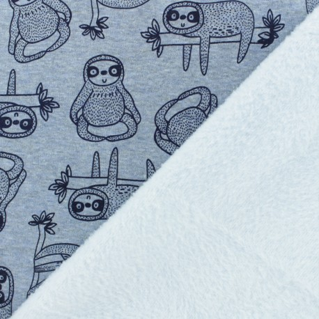 Sweatshirt fabric with minkee - blue Quentin the sloth x 10cm