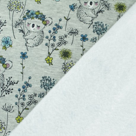 Sweatshirt fabric with minkee - Grey/blue Emma the Koala  x 10cm