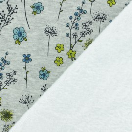 Tissu sweat envers minkee Jardin d'Emma - gris/bleu x 10cm