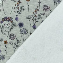Tissu sweat envers minkee Emma le Koala - gris/rose x 10cm