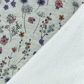 Tissu sweat envers minkee Jardin d'Emma - gris/rose x 10cm