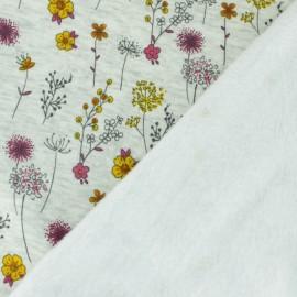 Tissu sweat envers minkee Jardin d'Emma - écru/jaune x 10cm