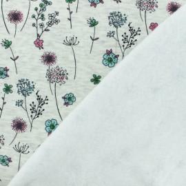Tissu sweat envers minkee Jardin d'Emma - écru/vert x 10cm
